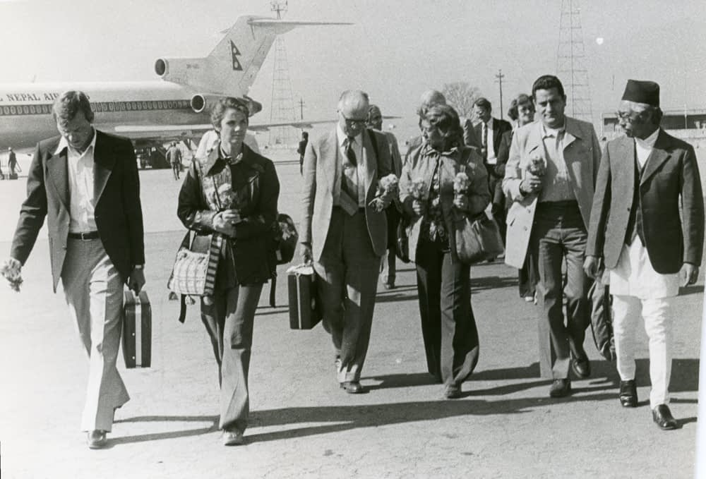 Maximino Alcalá de Stefano (second from right) worked closely with Nobel Prize winner Norman Borlaug (third from left). In the photo, a group of CIMMYT Scientists during a visit to Nepal in 1978. (Photo: CIMMYT)