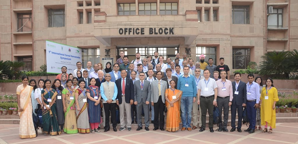 Participants of the 7th International Cereal Nematodes Symposium stand for a group photo at the National Agricultural Science Complex in New Delhi.
