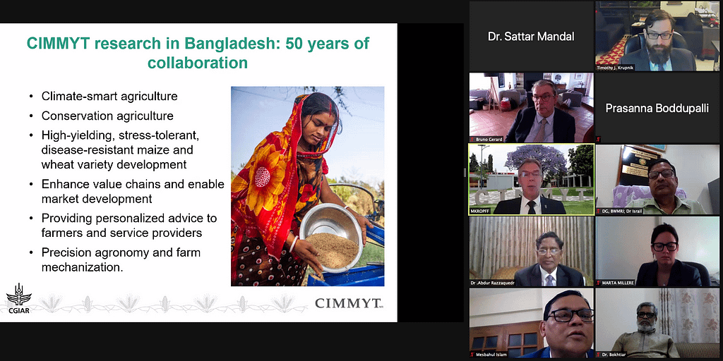 Martin Kropff gives an overview of CIMMYT research in Bangladesh during a virtual meeting with stakeholders. (Photo: CIMMYT)