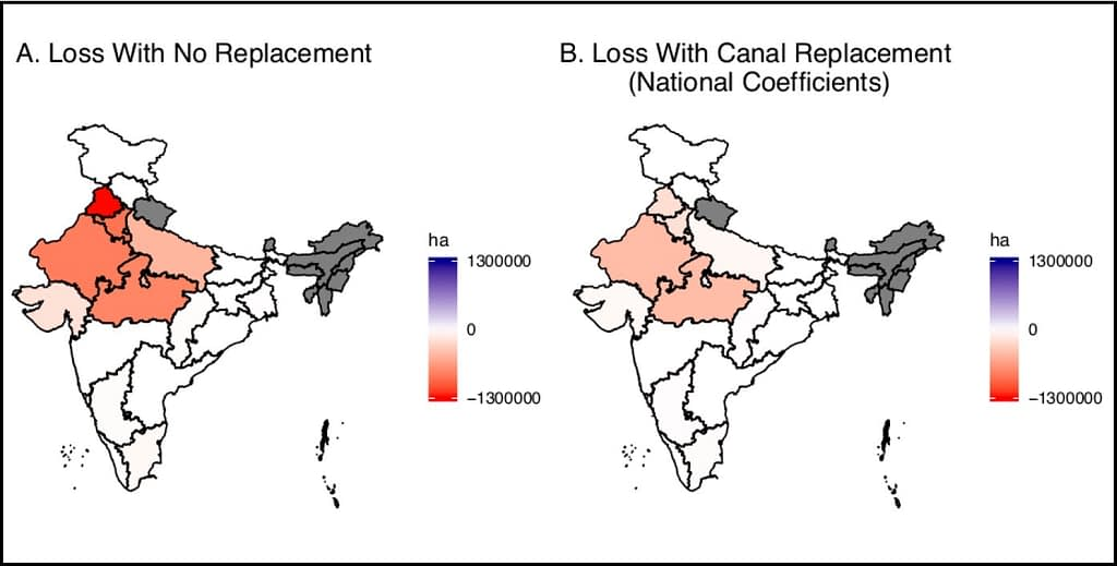 Maps showing state-by-state Indian winter cropped area loss estimates due to groundwater depletion in coming decades, with and without replacement by canals. Darker shades of pink and red indicate greater projected losses. The map on the left (A) shows projected winter cropped acreage losses if all critically depleted groundwater is lost, with no replacement. The map on the right (B) shows projected winter cropped acreage losses if groundwater irrigation is replaced with canals, using national-level regression coefficients. (Graph: Jain et al. in Science Advances 2021)