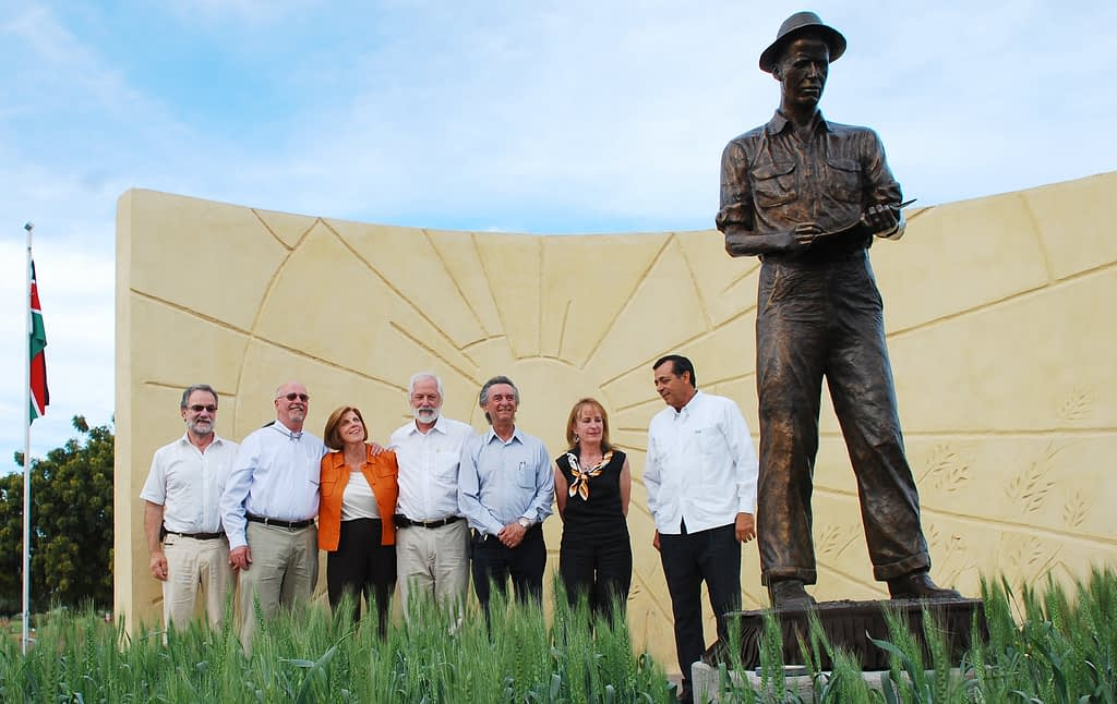 Left to right: Hans Braun, Ronnie Coffman, Jeanie Borlaug-Laube, Thomas Lumpkin, Antonio Gándara, Katharine McDevitt and unknown during the unveiling of the Norman Borlaug statue at CIMMYT's experimental station in Ciudad Obregón, Sonora, Mexico, in 2012. (Photo: Xochil Fonseca/CIMMYT)