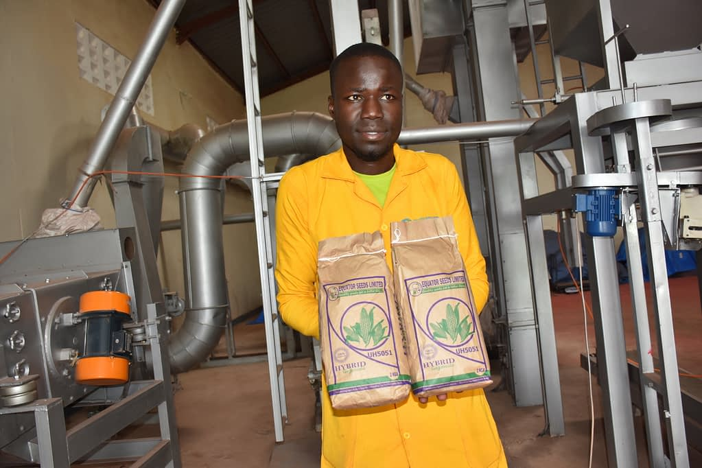 A worker at the Equator Seeds production plant in Gulu displays packs of UH5051 maize seed. (Photo: Joshua Masinde/CIMMYT)