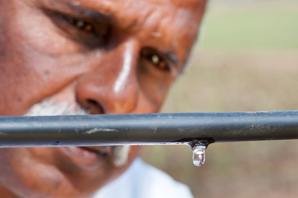 A farmer checks the drip irrigation system at his rice field in India. (Photo: Hamish John Appleby/IWMI)