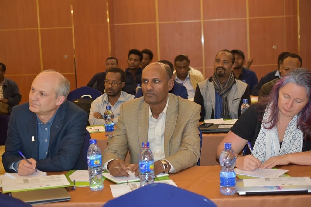 CIMMYT scientists Dave Hodson (left), Bekele Abeyo (center) and Sarah Hearne participated in the workshop.