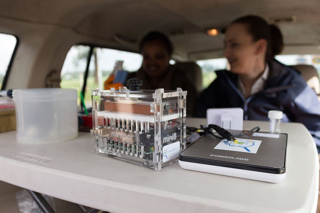 The MARPLE team carries out rapid analysis using the diagnostic kit in Ethiopia. (Photo: JIC)