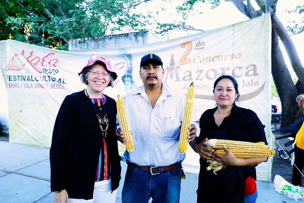 Costich with the winners of the Second Harvest Fair and Largest Mature Ear of Jala Maize Contest in Coapa, in Mexico's Nayarit state.