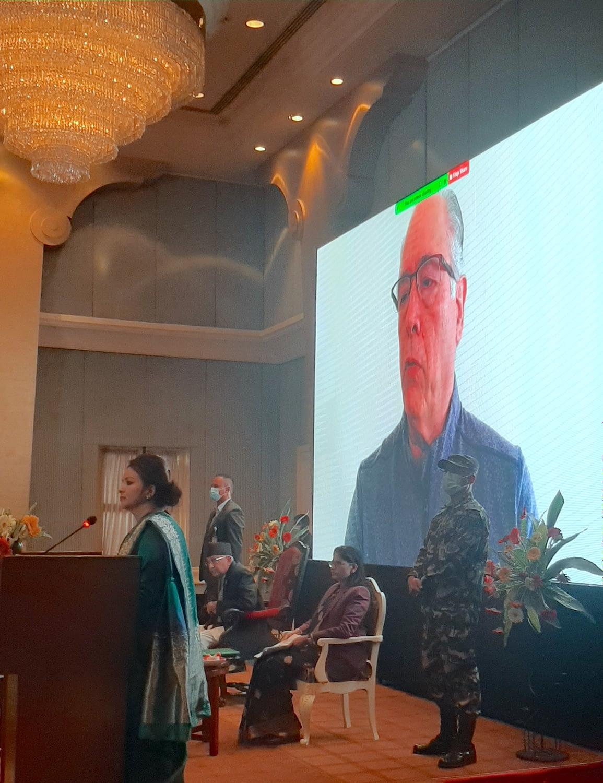 Ivan Ortiz-Monasterio, principal scientist at CIMMYT, shared his remarks in a video message. (Photo: Shashish Maharjan/CIMMYT)