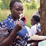 Participants were asked to rate the smell of different maize varieties, cooked as ugali, at a sensory evaluation in Kakamega County, Kenya. (Photo: Joshua Masinde/CIMMYT)