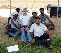 Alex Renaud (middle) with CIMMYT-Hyderabad field staff. Photo: By Alex Renaud