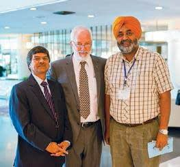 Dr. Tom Lupkin, CIMMYT Director General, with participants Dr. H.S. Gupta, director general of the Borlaug Institute for South Asia (BISA) and Dr. H.S. Sidhu, Senior Research Engineer, CIMMYT India.