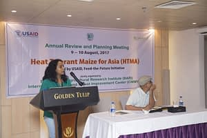 Sudha Nair speaking at a Heat Tolerant Maize for Asia (HTMA) annual review and planning meeting. (Photo: Sudha Nair/CIMMYT)