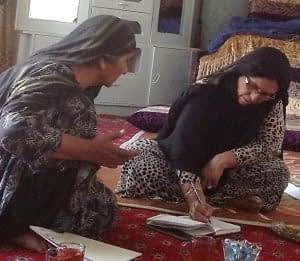 Afghan women from wheat farming villages in focus-group interviews as part of Gennovate, a global study on gender and agricultural innovation. Photo: CIMMYT archives