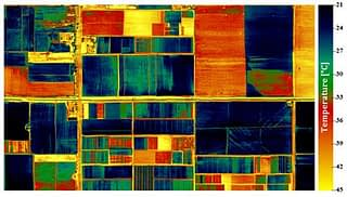 Thermal image of the CIMMYT-Obregon station acquired from the thermal camera at a 2-meter resolution on 14 February 2013. Well-watered (cooler) plots are shown in blue, water-stressed (warmer) plots in green and red. Roads and bare soil areas have an even higher temperature and are shown in yellow.