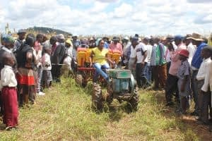 Farmers test out agricultural mechanization tools in Zimbabwe as part of CIMMYT's