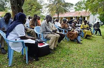 Members of Boro Farmers Innovation Platform attend a SIMLESA meeting.