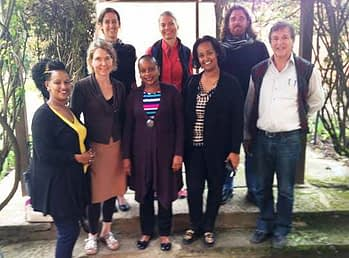 Front row, from left to right: Mulunesh Tsegaye, FACASI gender and agriculture specialist; Katrine Danielsen KIT; Elizabeth Mukewa consultant; Mahlet Mariam, consultant; and David Kahan CIMMYT, business model specialist. Back row, from left to right: Anouka van Eerdewijk KIT; Lone Badstue CIMMYT strategic leader, gender research and mainstreaming; and Frédéric Baudron, FACASI project leader. Credit: Steffen Schulz/CIMMYT