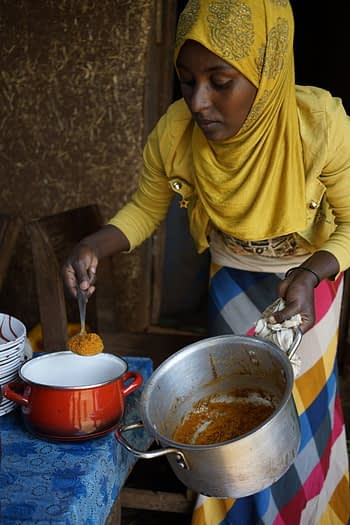 Maize dish prepared with QPM maize with cook Amina Ibrahim at NuME field day, Sayo village, Dano district