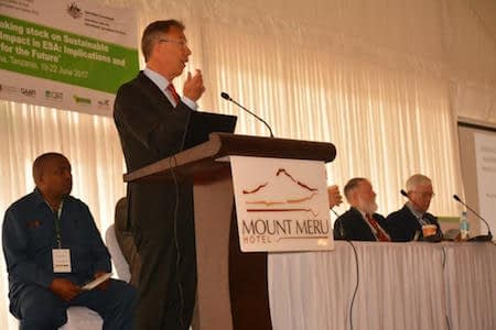 """CIMMYT Director General, Martin Kropff delivers keynote address on """"Climate smart resilient systems for Africa."""" Photo: J. Siamachira/CIMMYT."""