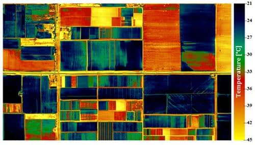 Thermal image of the CIMMYT-Obregon station acquired from the thermal camera at a 2-meter resolution on 14 February 2013. Well-watered (cooler) plots are shown in blue, water-stressed (warmer) plots in green and red. Roads and bare soil areas have an even higher temperature and are shown in yellow. Photo: CIMMYT