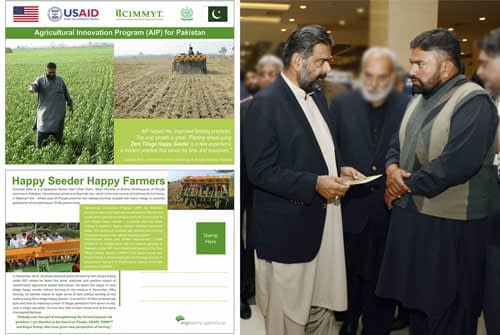 Farmer Chand sharing his experience with Sikandar Hayat Bosan (left), Pakistan's Federal Minister of Food Security & Research.Photo: Amina Nasim Khan
