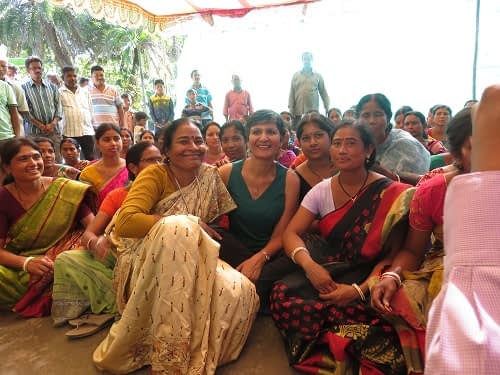 Australian High Commissioner to India, Harinder Sidhu, sitting with a local women's group. Photo courtesy of SRFSI program.