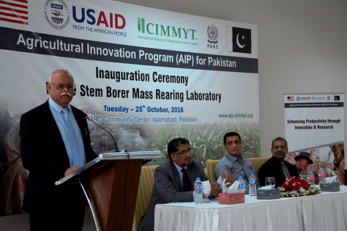 Nadeem Amjad, acting chairman of PARC, delivering his closing speech. Photo: CIMMYT