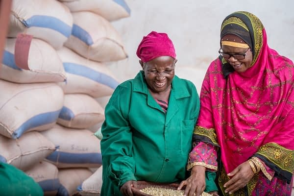 Zubeda Mduruma (right) and her colleague check maize seeds at Aminata Quality Seeds. (Photo: Lucy Maina/CIMMYT)