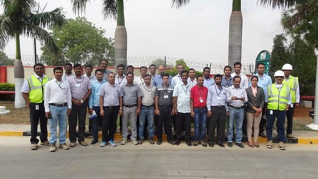 Participants at DuPont Pioneer seed processing plant Dundigal Hyderabad. Photo: CIMMYT