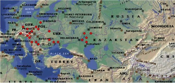 Figure2. Location of the International Nurseries testing sites.
