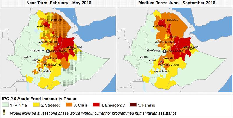 Food security status across Ethiopia. Source: Fews.Net