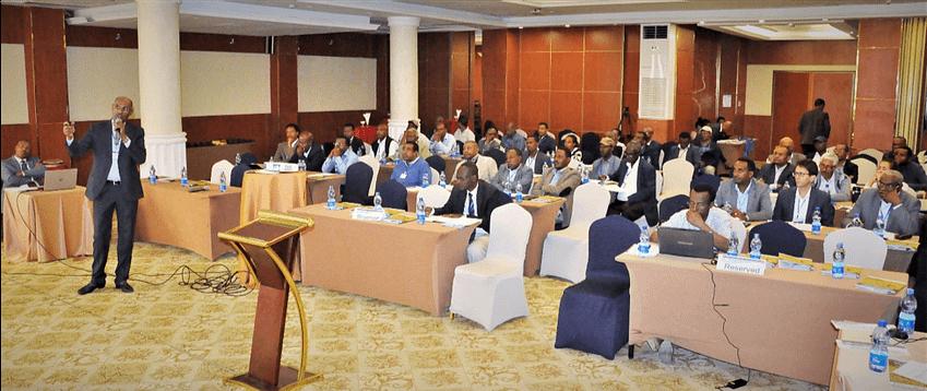 CIMMYT's representative in Ethiopia, Bekele Abeyo, presents the achievements of the project. (Photo: Semu Yemane/EIAR)