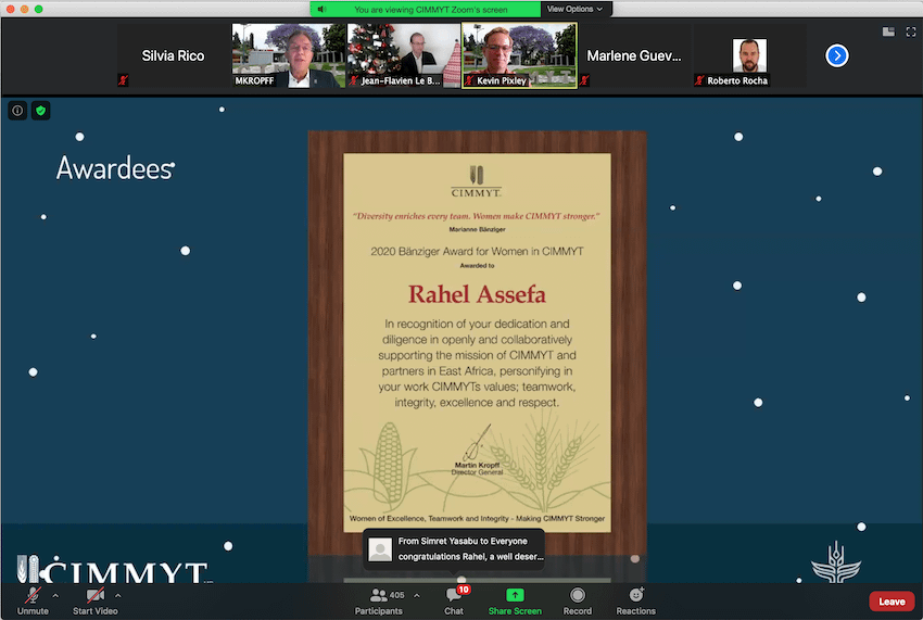 Rahel Assefa receives her certificate during the virtual award ceremony. (Photo: CIMMYT)