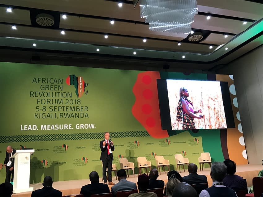 "The director general of CIMMYT, Martin Kropff, was the keynote speaker of the AGRF 2018 round-table discussion ""Quality Means Quantity – Seed Processing Technology and Production Approaches for Agricultural Benefit."" (Photo: CIMMYT)"