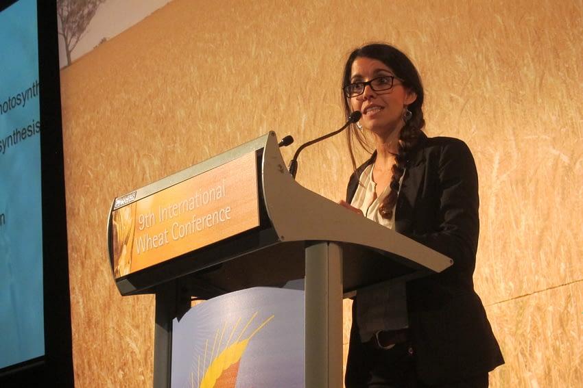 CIMMYT scientist Gemma Molero speaks at the 9th International Wheat Congress in Sydney, Australia, in 2015. (Photo: Julie Mollins/CIMMYT)