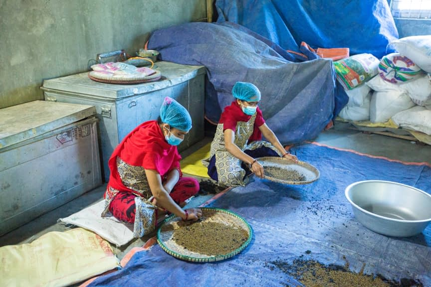 Employees select and clean mung beans at Poshan Foods in Butwal, Nepal. (Photo: Merit Maharajan/Amuse Communication)
